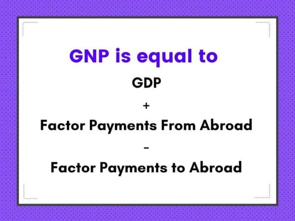 GNP formula. GNP is one of the measures of national income